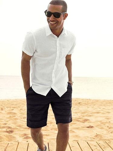 white shirt blue shorts