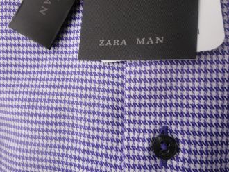 purple and white houndstooth shirt
