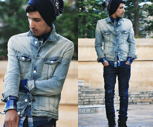 man in double-denim