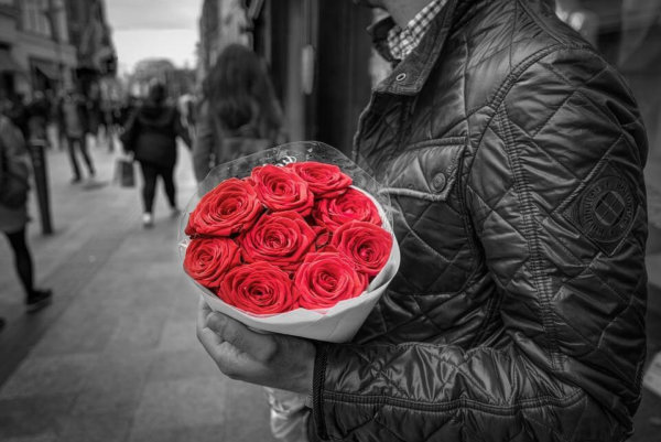 Holding, Red Roses, Romance, Love, Man, Couple, People